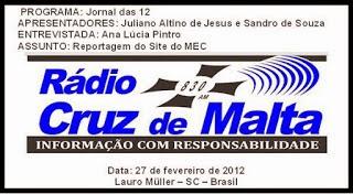 Entrevista Rádio Cruz de Malta