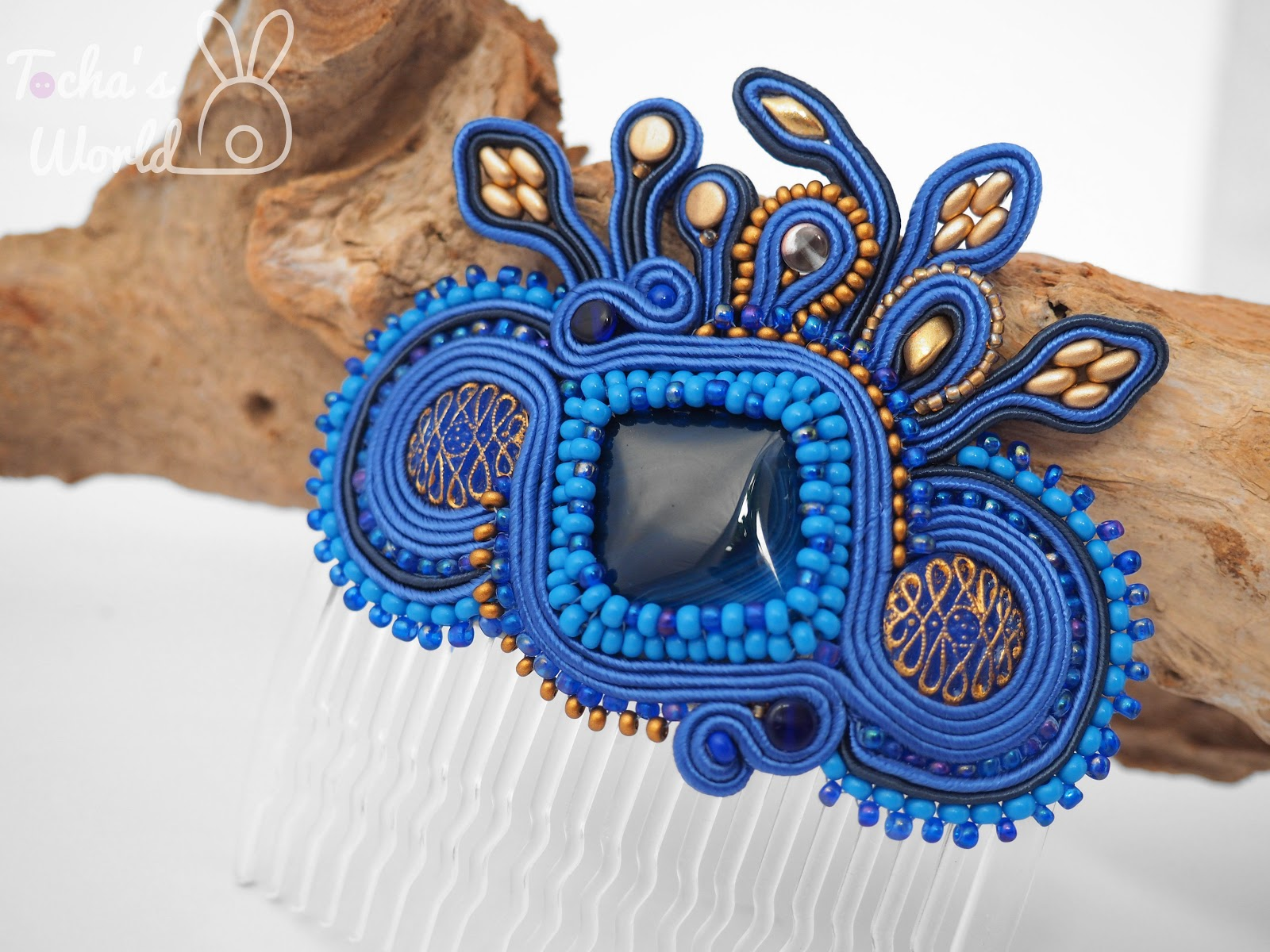 fascinator, comb, hair accessories, blue, gold, soutache, glass buttons, burlesque, agate, Toho, Preciosa Ornela, wedding, Tocha's World
