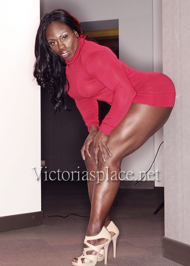Victoria Dominguez Posing Her Great Legs In A Red Dress