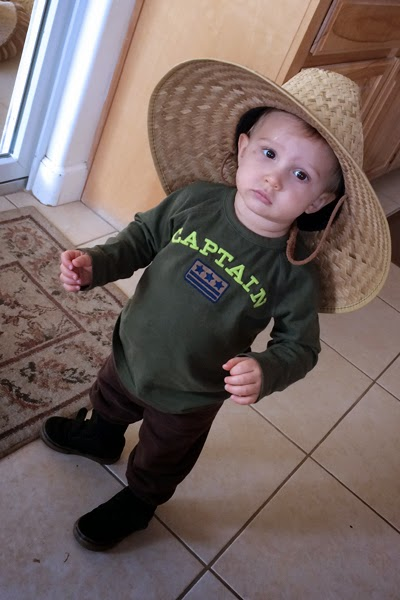 Reef Indy Turned 15 months today. Wearing Opa's hat.
