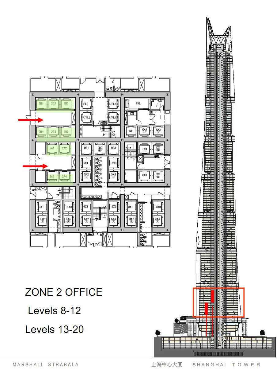 Modern cabinet shanghai tower elevator system drawings for Architecture design blueprint
