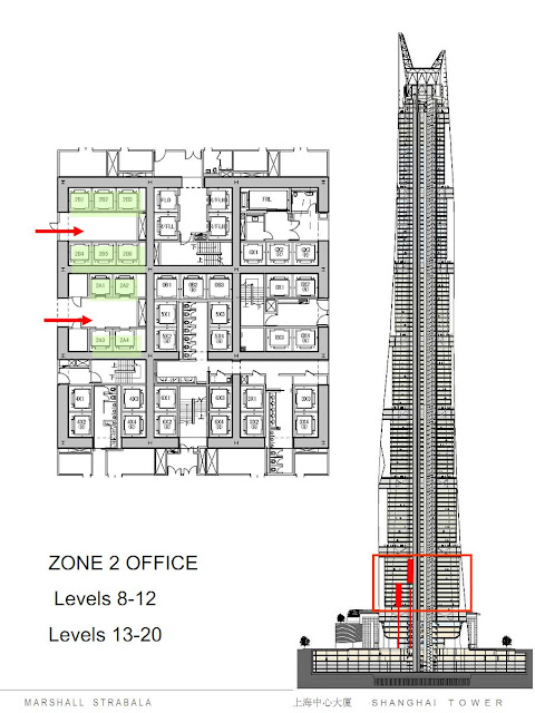 Elevator system zone 2 of Shanghai tower