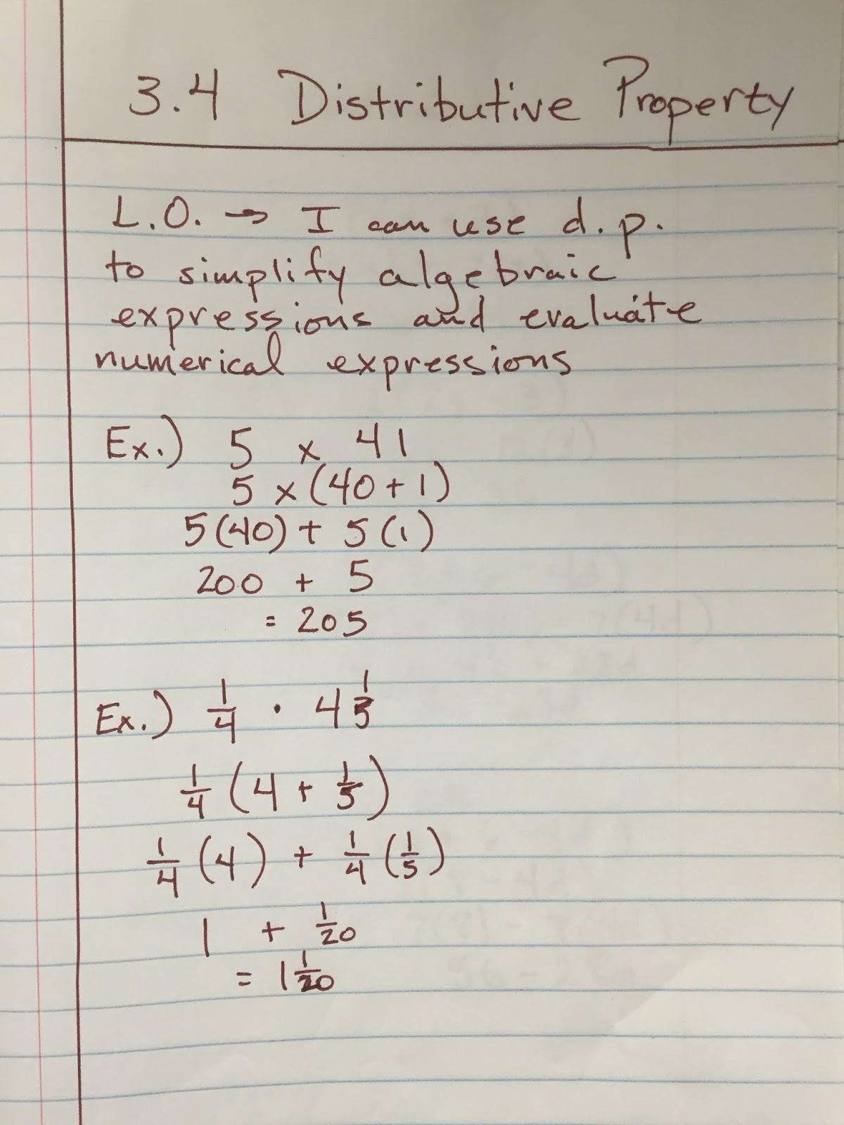 Heidemann 6th Grade Math and Science: Math-Notes 3.4