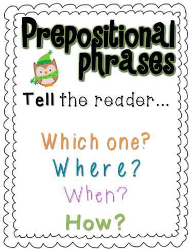 Prepositional Phrase Anchor Chart Holiday prepositional phrases!