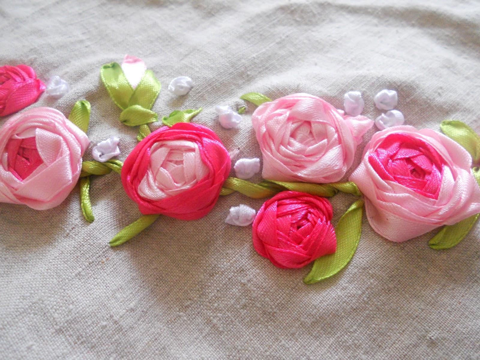 Вышивка капроновыми лентами розы
