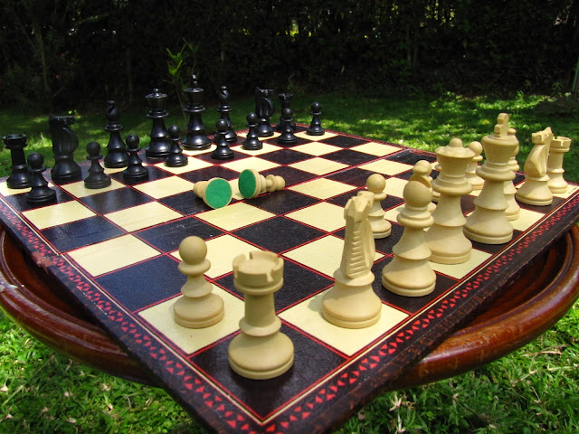 Close up view of House of Martin chess set. All pieces have felt underneath