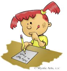 little girl with pigtails trying to figure out what to write