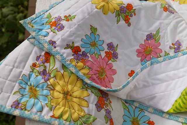 Vintage Floral Sheet Quilt Back