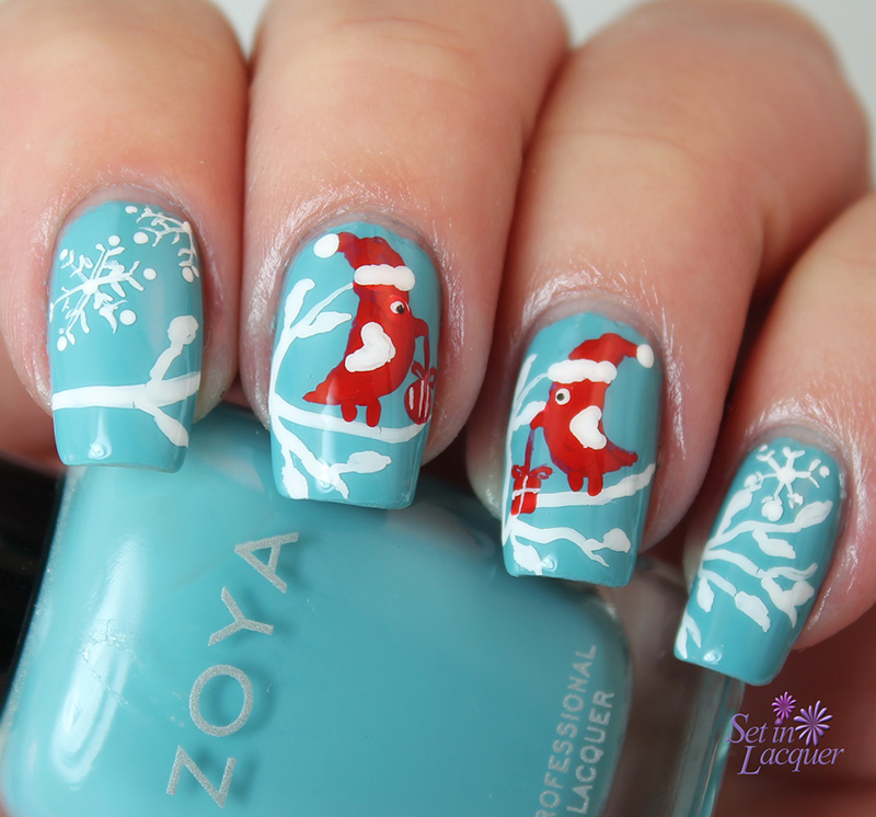 snowflake wintery holiday scene with lovebirds nail art