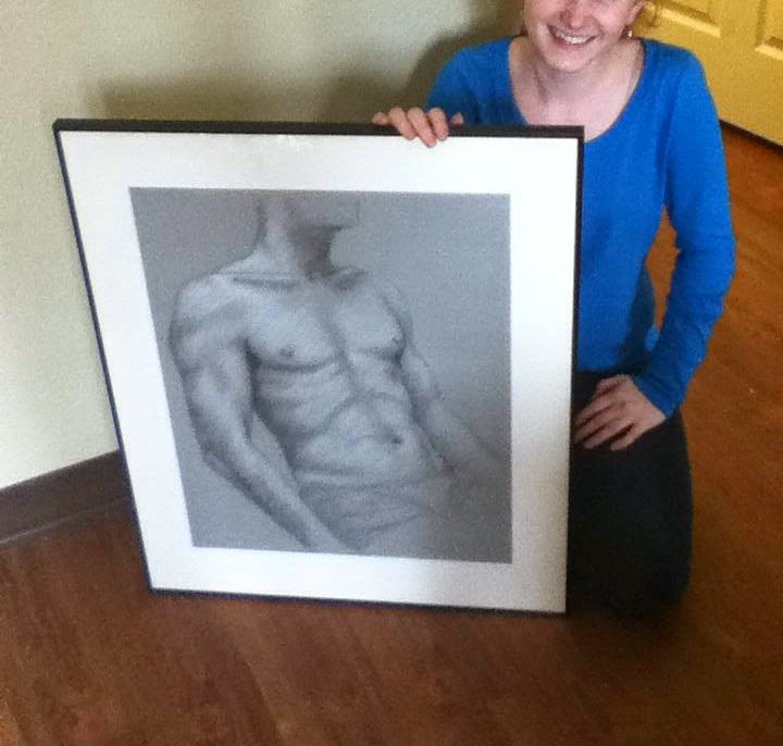 A picture of me and my framed male torso.