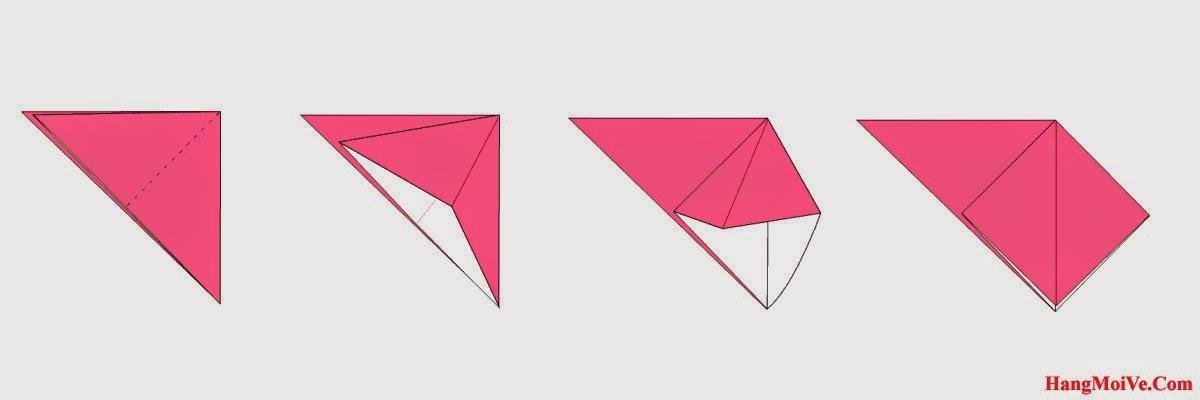 Bước 3: Mở lớp giấy trên cùng từ trong ra ngoài, cách làm giống hình 2, 3 ta được một hình như hình thứ 4.