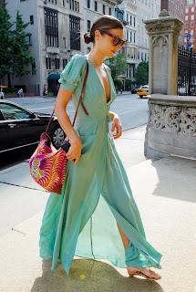 Miranda Kerr green dress and pink bag