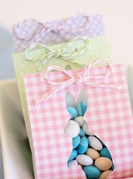 lovely Easter treats wrapping with bunny shape