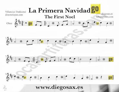 Tubescore The First Noel sheet music for Oboe Christmas Carol traditional music score