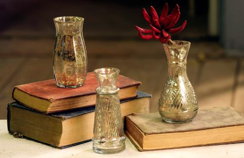 At West End's set of three antiqued mercury glass bud vases
