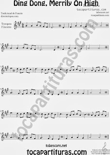 Partitura de Ding Dong, Merrily On High para Violín by George Ratcliffe Woodward Sheet Music for Violin Music Scores Music Scores