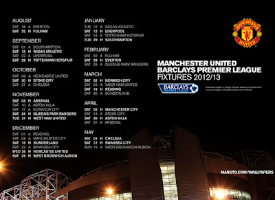 Manchester United Fixtures 2012-2013 [black]