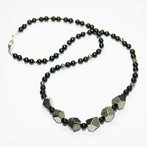 Handmade Pyrite & Onyx Necklace, designer jewellery | Objets de Désir