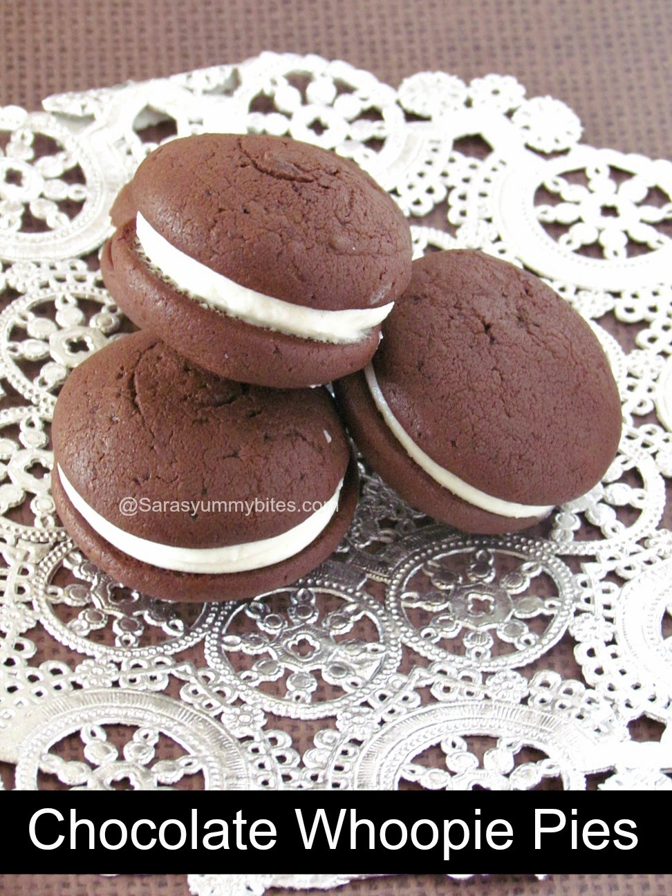 Chocolate Whoopie Pies with Cream Cheese Filling ~ SarasYummyBites