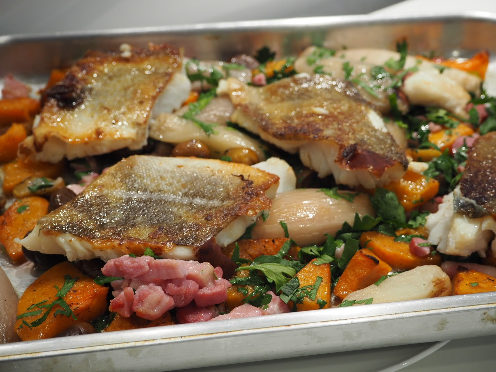 Roast Cod Squash Bacon and merchant gourmet Chestnuts with Lemon and Butter