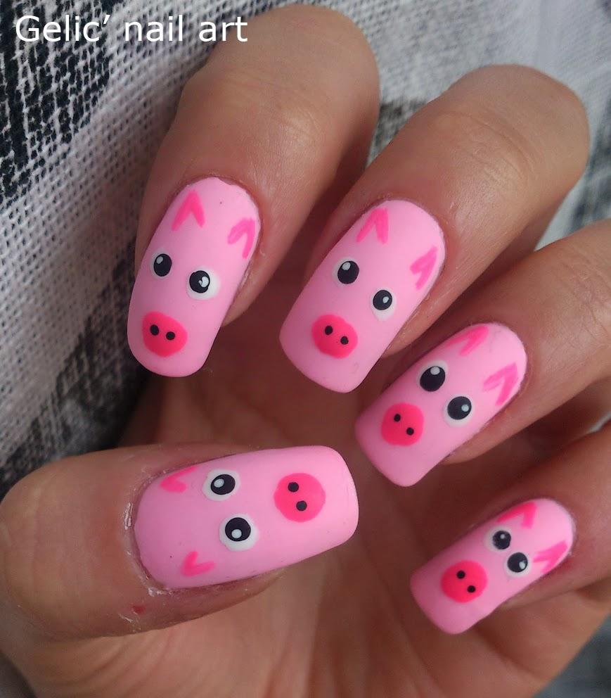 Pink Pig Nail Art