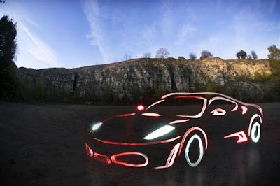 light graffiti ferrari