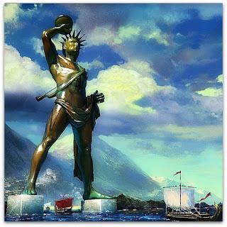 O Colosso de Rodes: representava Hélio. Foi considerada uma das 7 Maravilhas do Mundo.