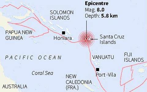 Gempa 8 SR Guncang Solomon