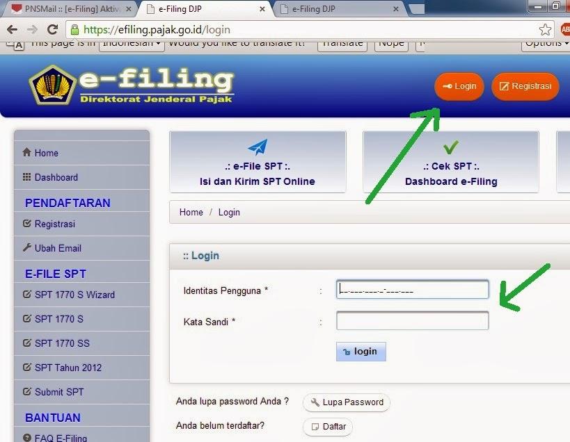 Cara mengisi e-filling pajak