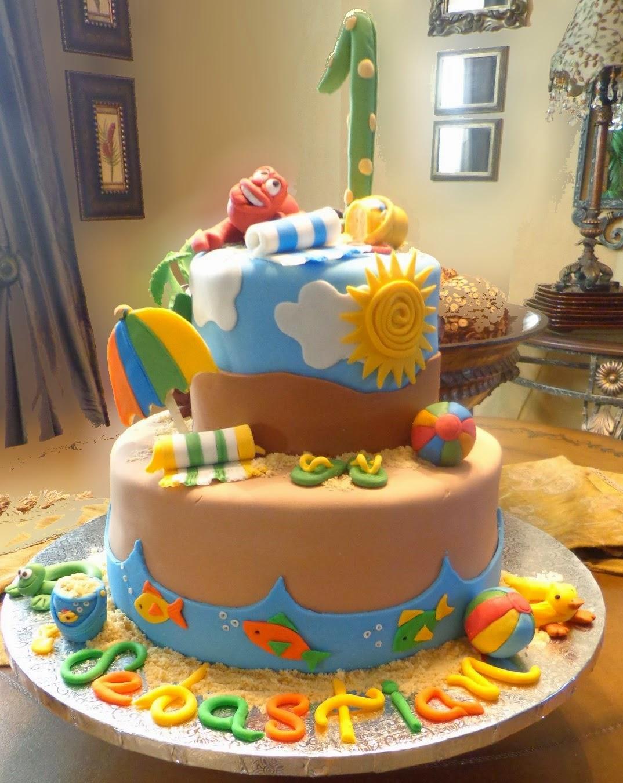 Ana Silk Flowers Cake Beach Birthday Kids Party