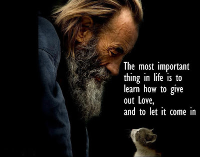 The most important thing in life is to learn how to give out love, and to let it come in.