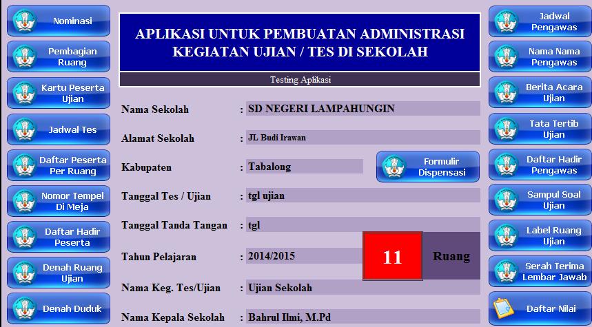 Aplikasi Admintrasi Ujian Sekolah Jenjang SD/MI Tahun 2015