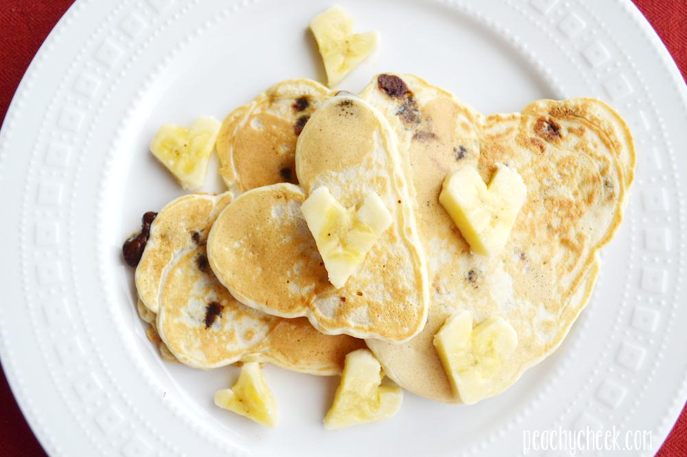Heart-Shaped Chocolate Chip Banana Pancakes Recipe — Dishmaps