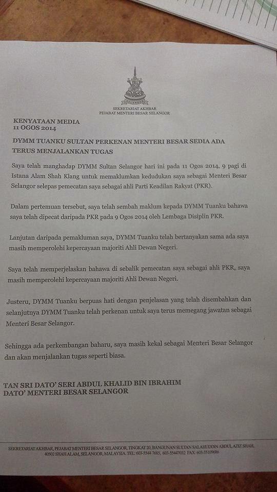 Kenyataan Media Penuh Khalid Ibrahim Dakwa Masih Dapat Sokongan Majoriti Dewan Undangan Negeri Selangor