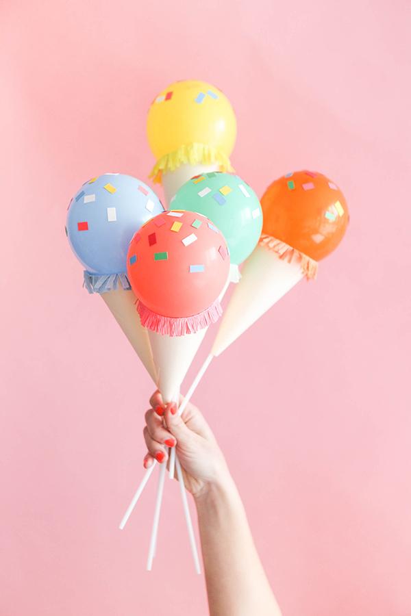 diy mini ice cream cone balloon sticks do it yourself