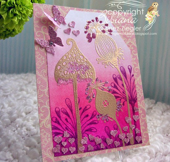 ombre technique card front with lavinia stamps