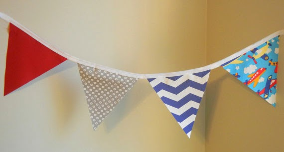 SALE-Airplane Banner, Bunting, Airplane Party Decoration, Planes, Boys Nursery Decoration blue red grey birthday planes