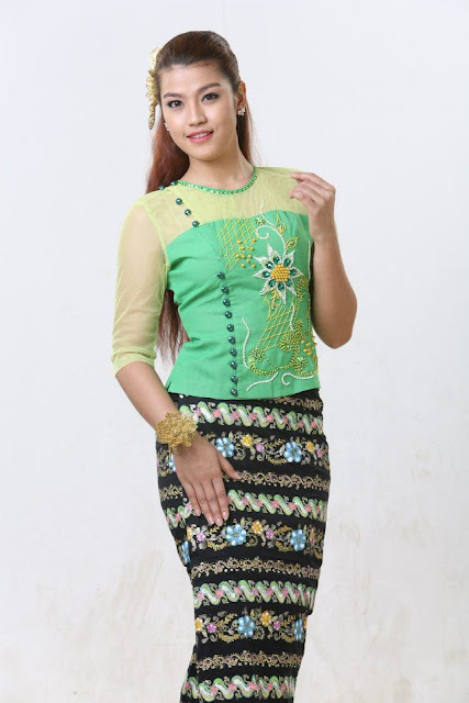 actress with myanmar outfit ei chaw po