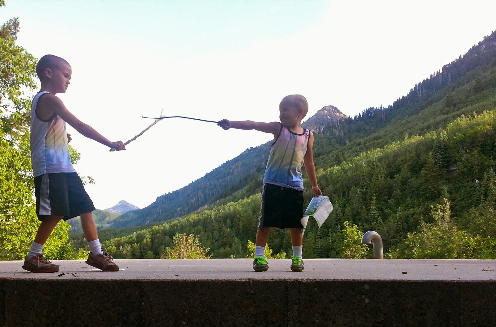 kids sword fighting