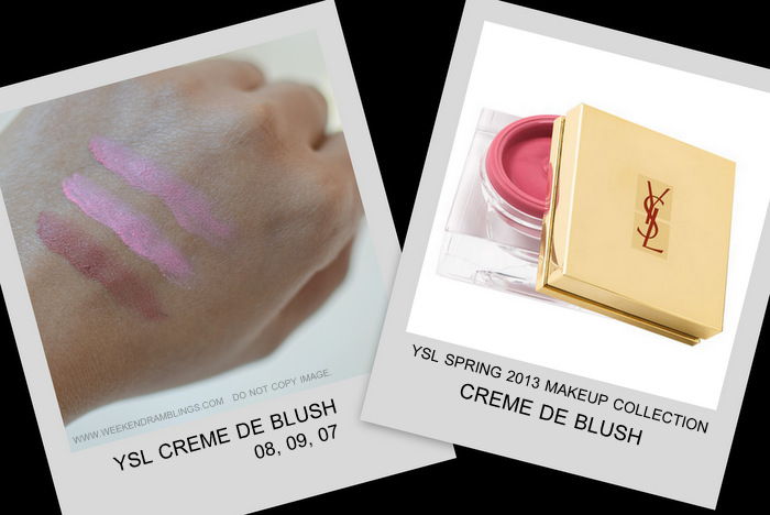 YSL spring 2013 makeup collection indian beauty blog darker skin swatches creme de blush cream 08 07 09