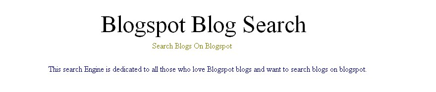Blogspot Blog Search