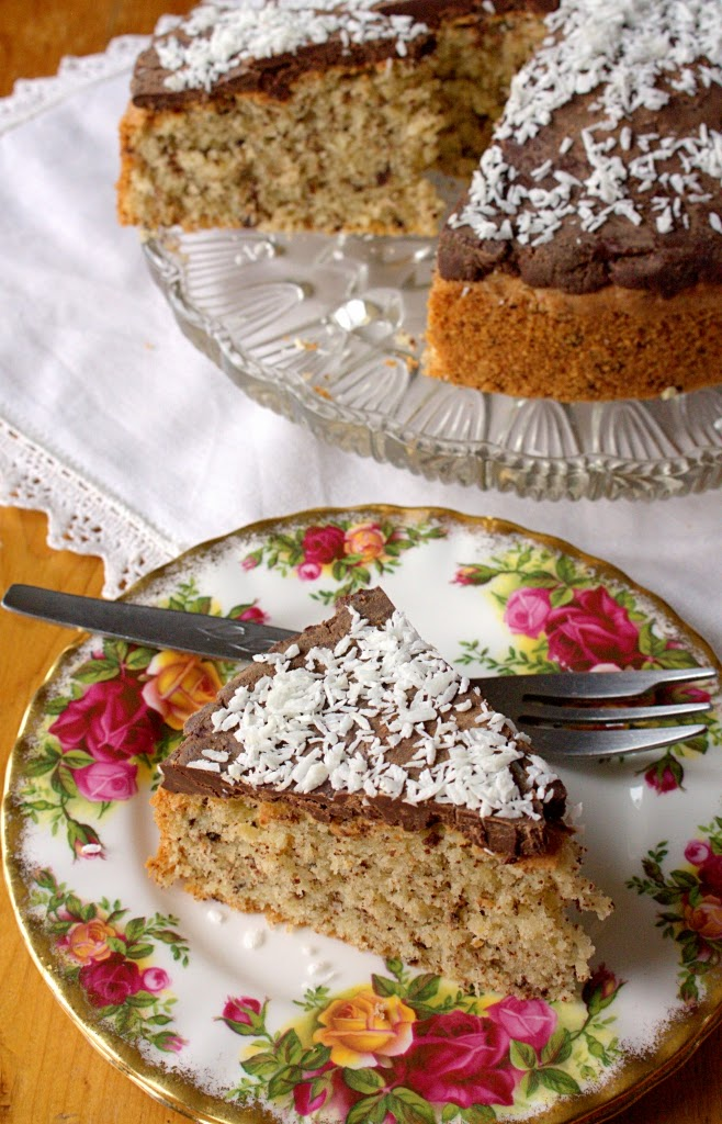 Kentish Cake - a truly vintage recipe perfect for afternoon tea. Flavoured with ground almonds, coconut and chocolate.