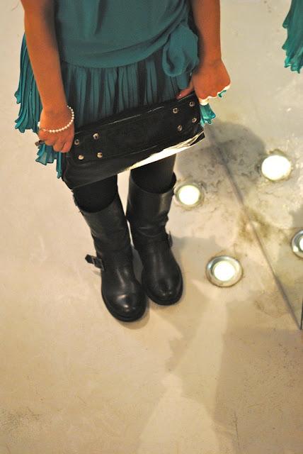 (ethic) pochette borchie studded biker turchese chiffon glitter in the air