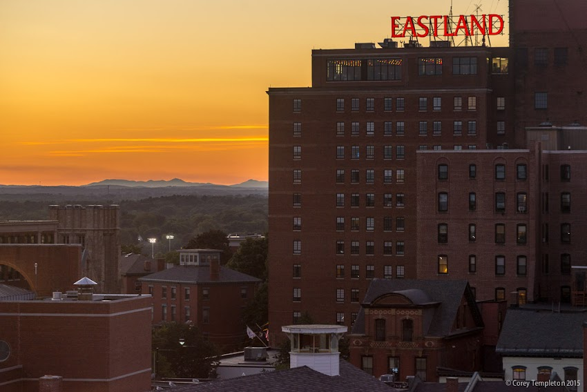 Portland, Maine USA September 2015 photo by Corey Templeton. Looking west at a sunset over the Eastland Westin Hotel. From the Holiday Inn.