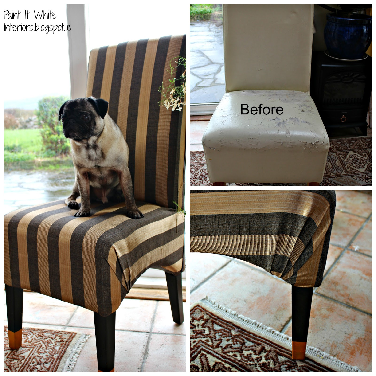 Recovering A Torn Leather Chair With Fabric Paint It White