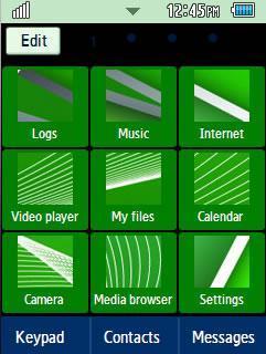 General Green, Cross Samsung Corby 2 Theme Menu