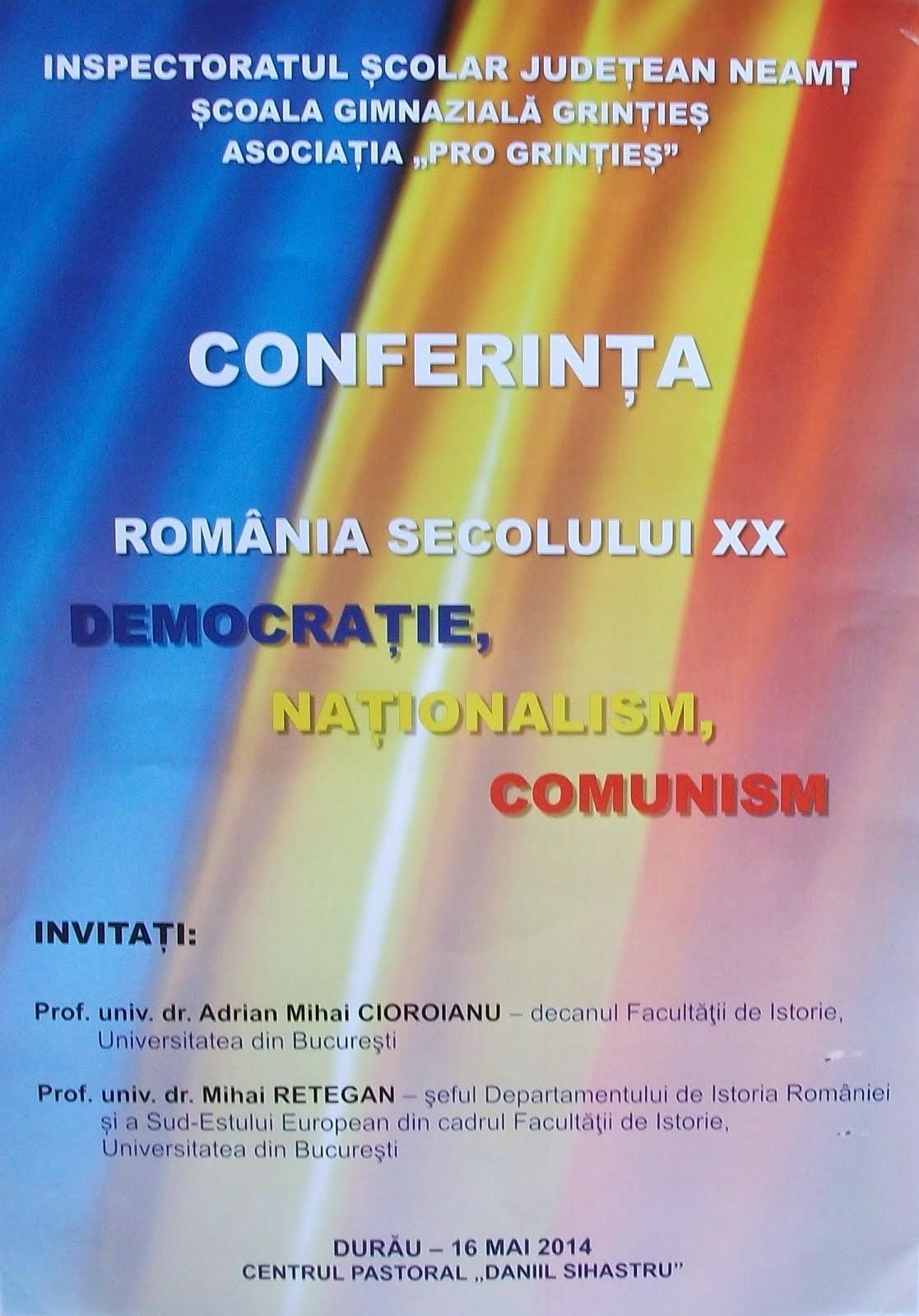 """Afiş oficial - Conferinţa """"România în sec. XX- Durău"""",16.05.2014.."""