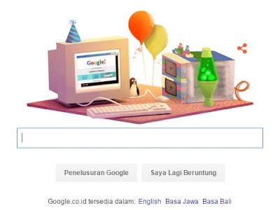 Google Doodle Hari Ini: Ulang Tahun Google ke 17 tahun