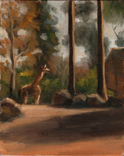 Oil painting of a gravel enclosure surrounded by trees with a giraffe in the background.