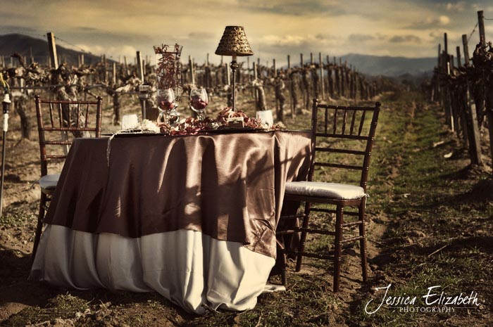 arreglo de mesa en viñedo rustico boda en sepia